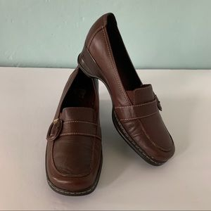 Naturalizer OLLA Brown Leather Wedge Loafer, 8.5 M